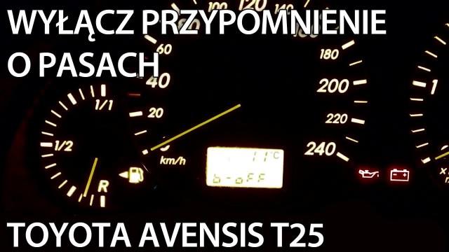 Przypomnienie niezapiętych pasów Toyota Avensis
