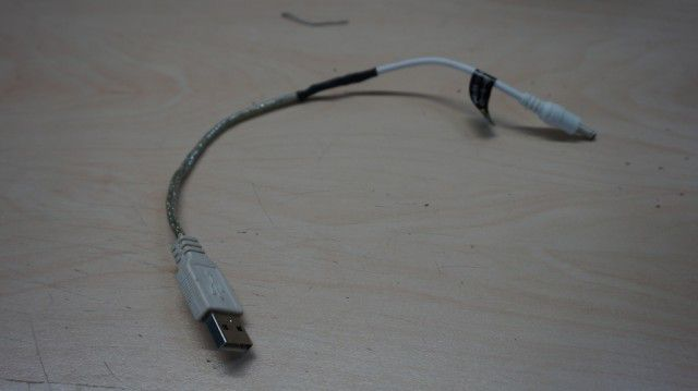 Przerobiony kabel zasilający USB DC