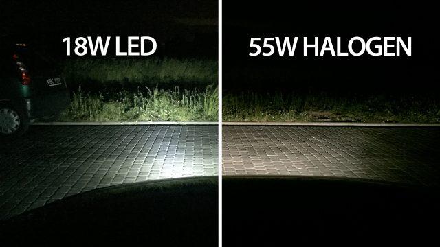 Porównanie 18W LED vs 55W halogen