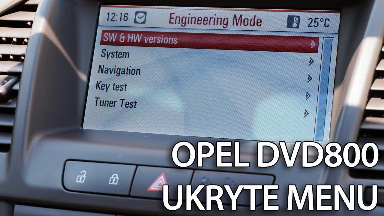 Opel DVD800 ukryte menu